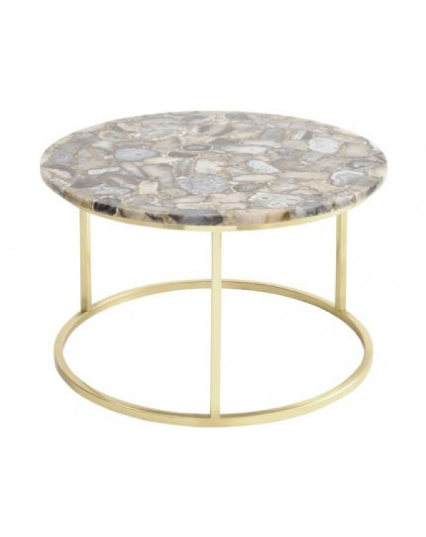 Libra - Agate Round Coffee Table On Brass frame - ...